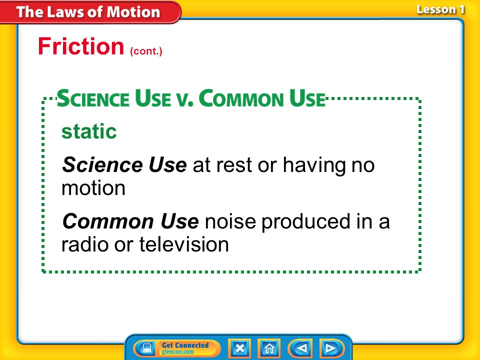 Friction (cont.) static Science Use at rest or having no motion