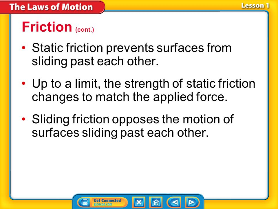 Friction (cont.) Static friction prevents surfaces from sliding past each other.