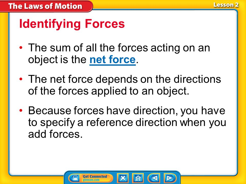 Identifying Forces The sum of all the forces acting on an object is the net force.