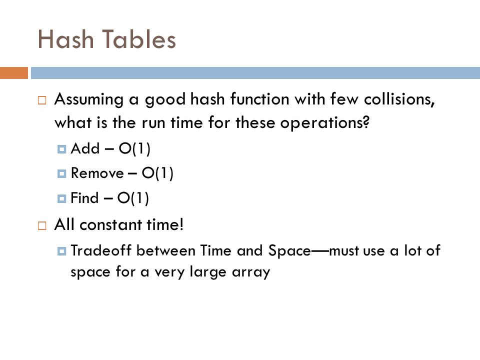 Hash Tables Assuming a good hash function with few collisions, what is the run time for these operations
