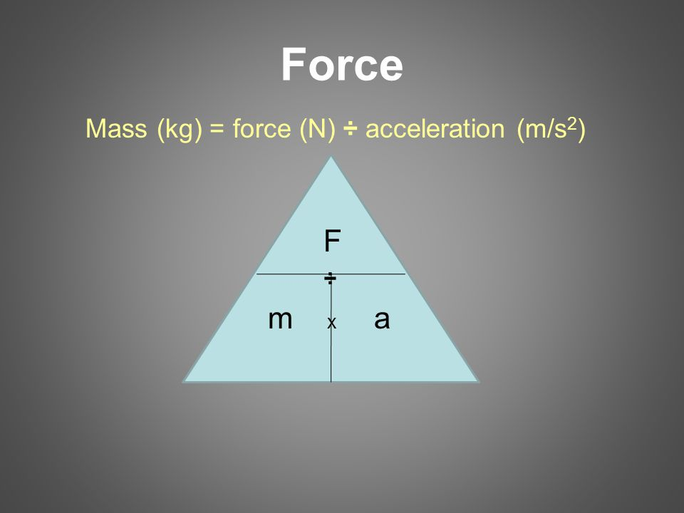 Force Mass (kg) = force (N) ÷ acceleration (m/s2) F ÷ m x a