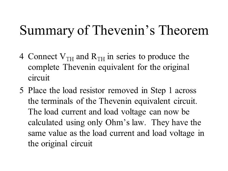 Summary of Thevenin's Theorem