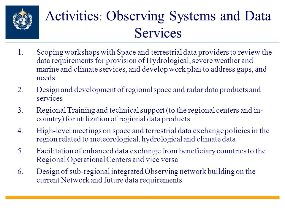 Activities: Observing Systems and Data Services