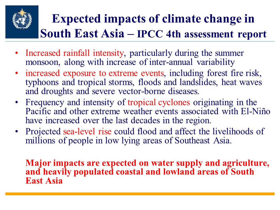 Expected impacts of climate change in South East Asia – IPCC 4th assessment report