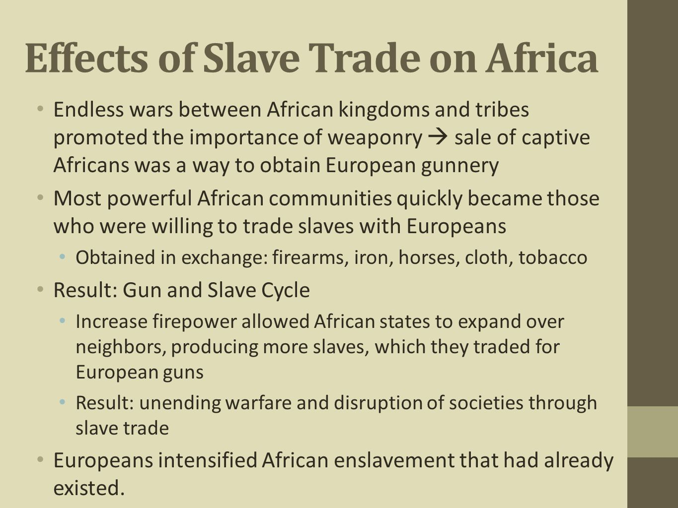 effects of slave trade