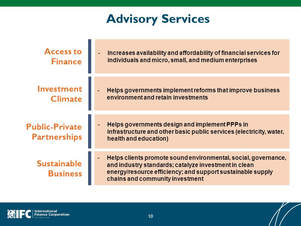 Advisory Services Access to Finance Investment Climate