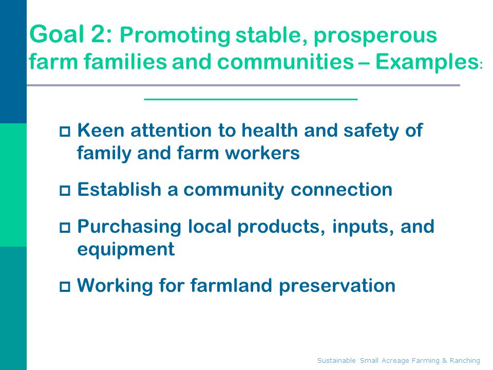 Goal 2: Promoting stable, prosperous farm families and communities – Examples: