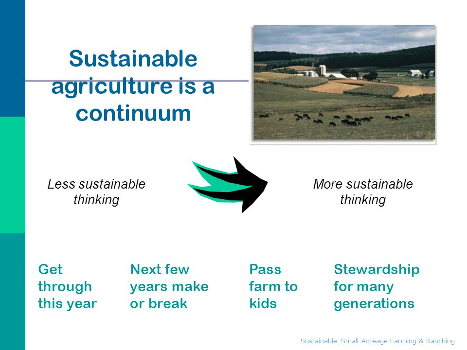 Sustainable agriculture is a continuum