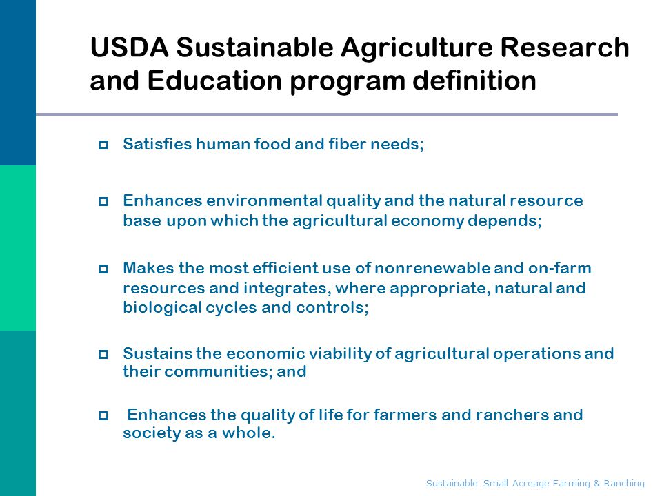 USDA Sustainable Agriculture Research and Education program definition