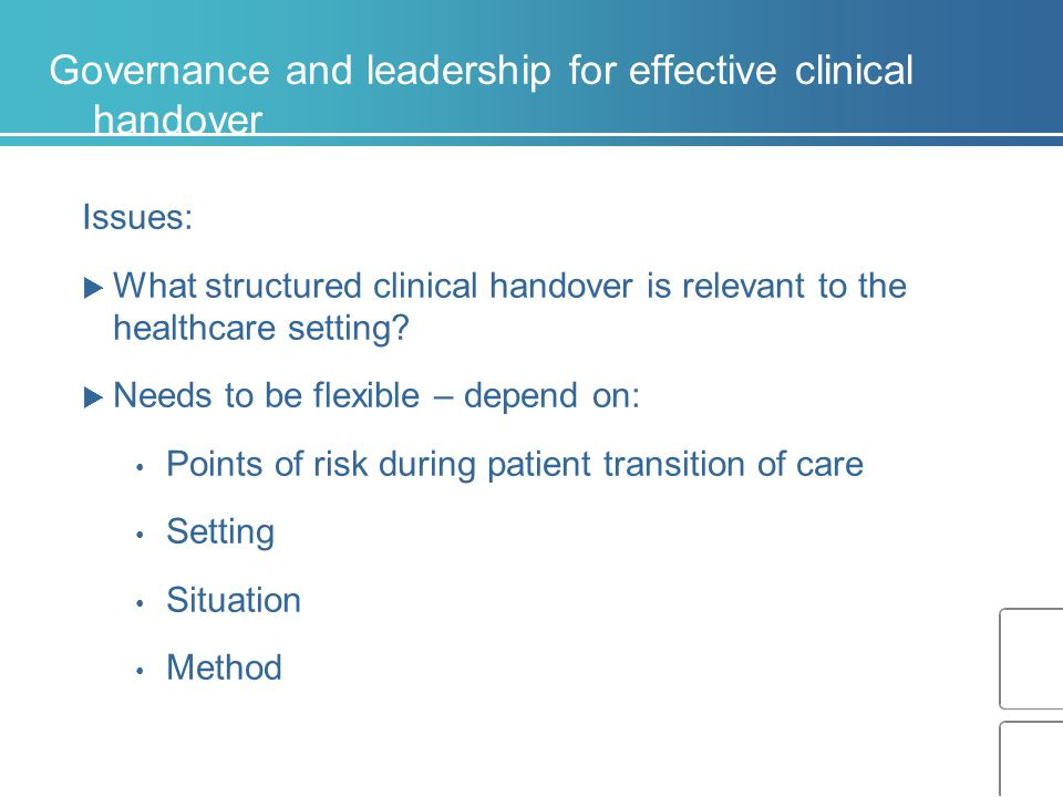 Governance and leadership for effective clinical handover