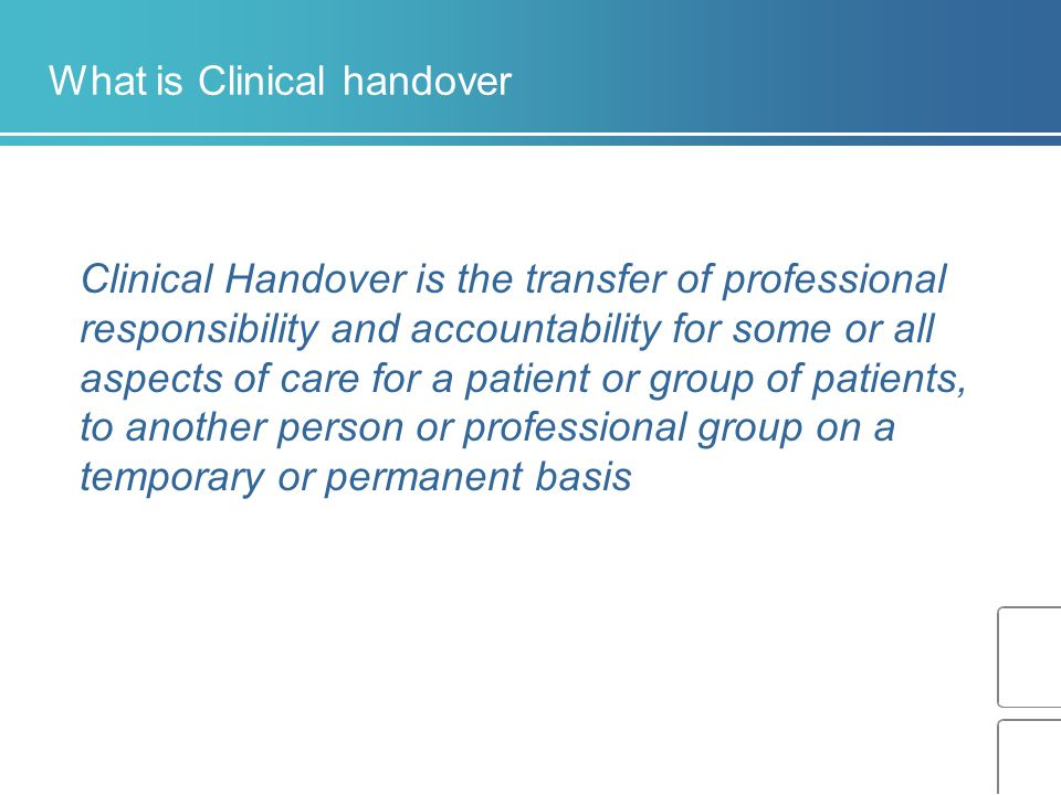 What is Clinical handover