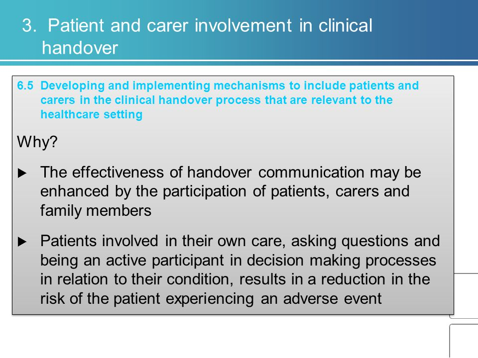 3. Patient and carer involvement in clinical handover