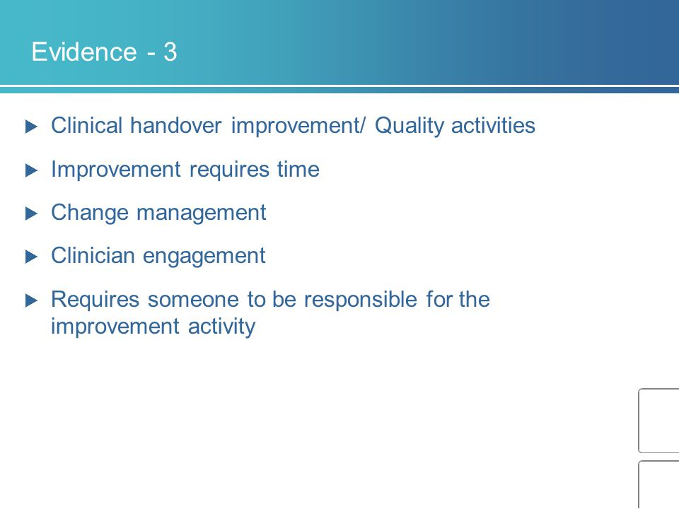 Evidence - 3 Clinical handover improvement/ Quality activities