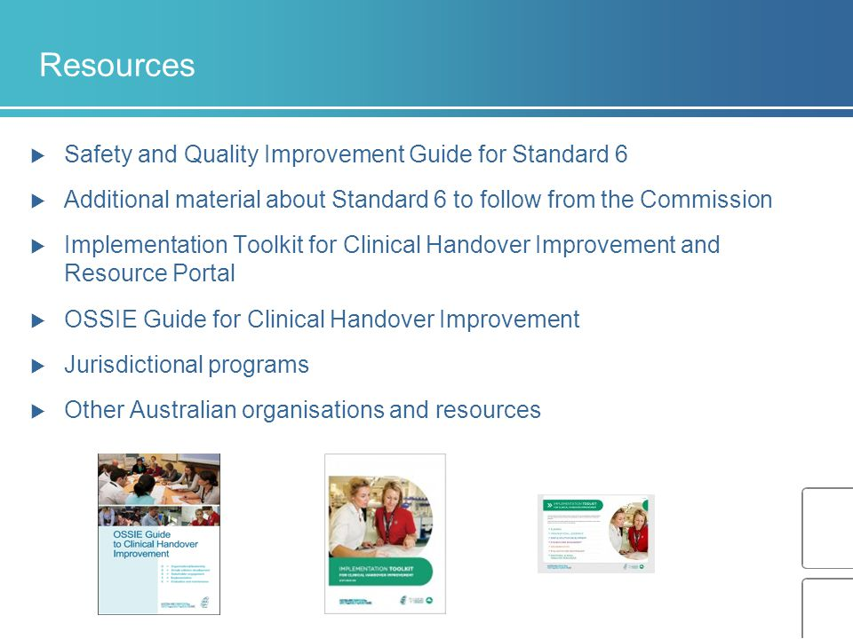 Resources Safety and Quality Improvement Guide for Standard 6