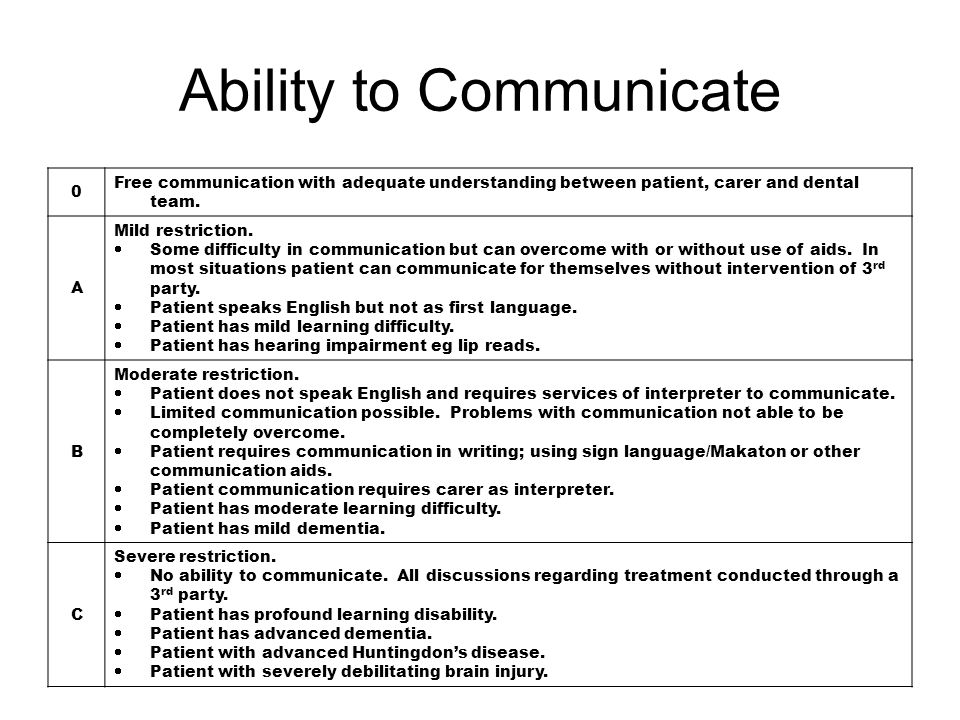 Ability to communicate