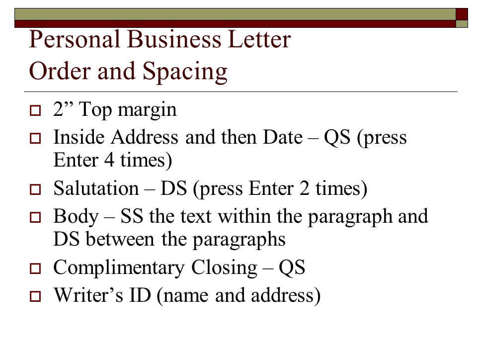 5 personal business letter order and spacing