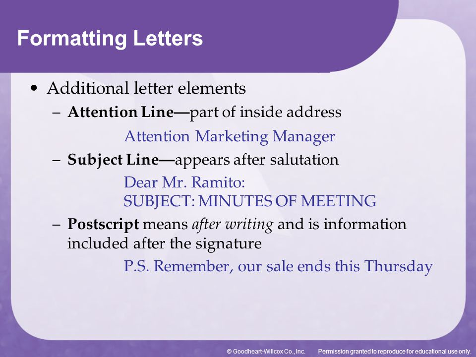 Formatting Letters Additional letter elements