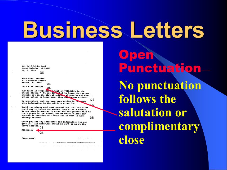 Business Letters Open Punctuation—
