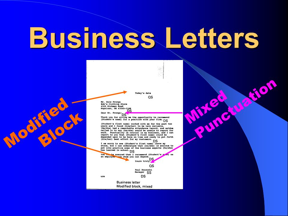 Business Letters Mixed Punctuation Modified Block