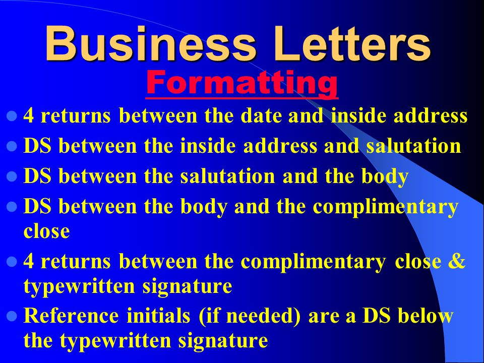 Business Letters Formatting