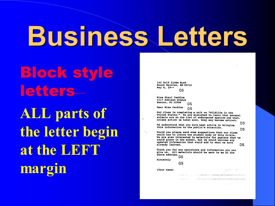 Business Letters Block style letters—