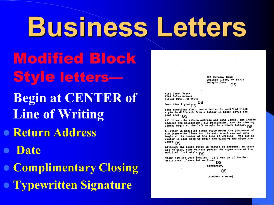 Business Letters Modified Block Style letters—