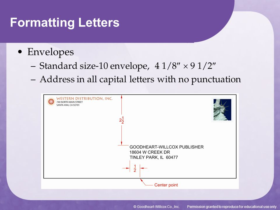 Formatting Letters Envelopes