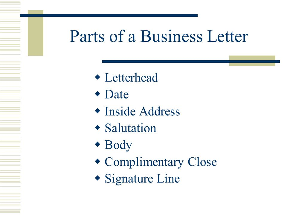 Block and modified block styles with open and mixed punctuation parts of a business letter spiritdancerdesigns Choice Image