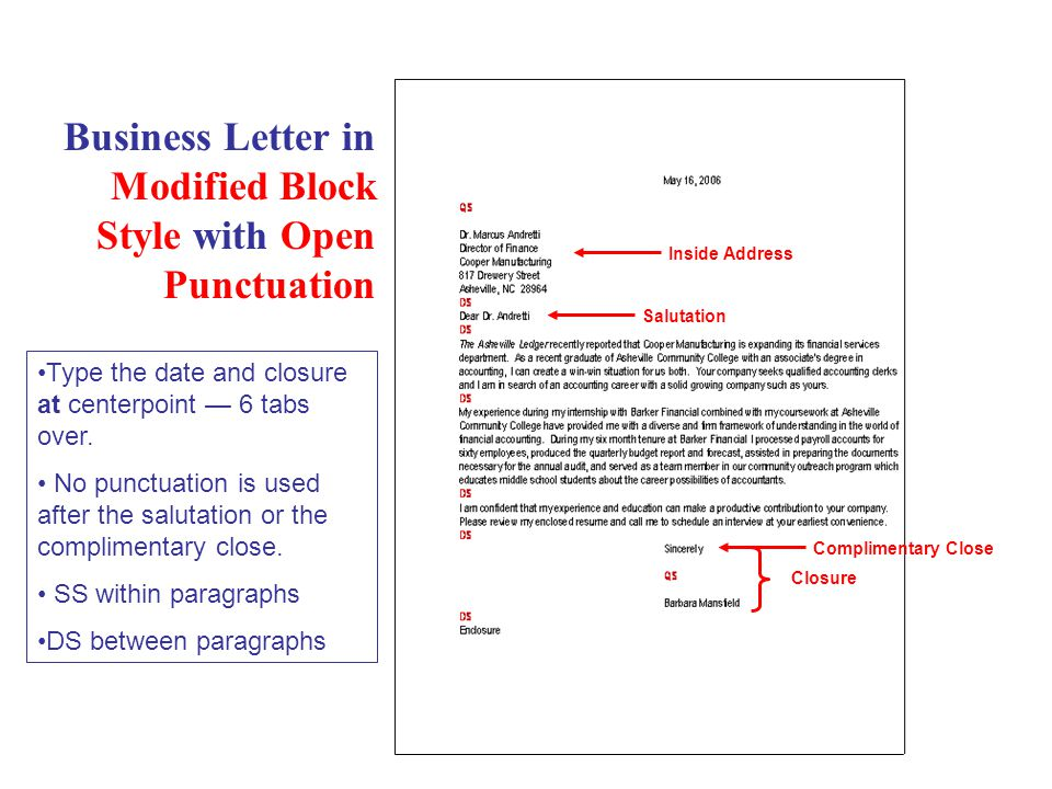Business Letter in Modified Block Style with Open Punctuation