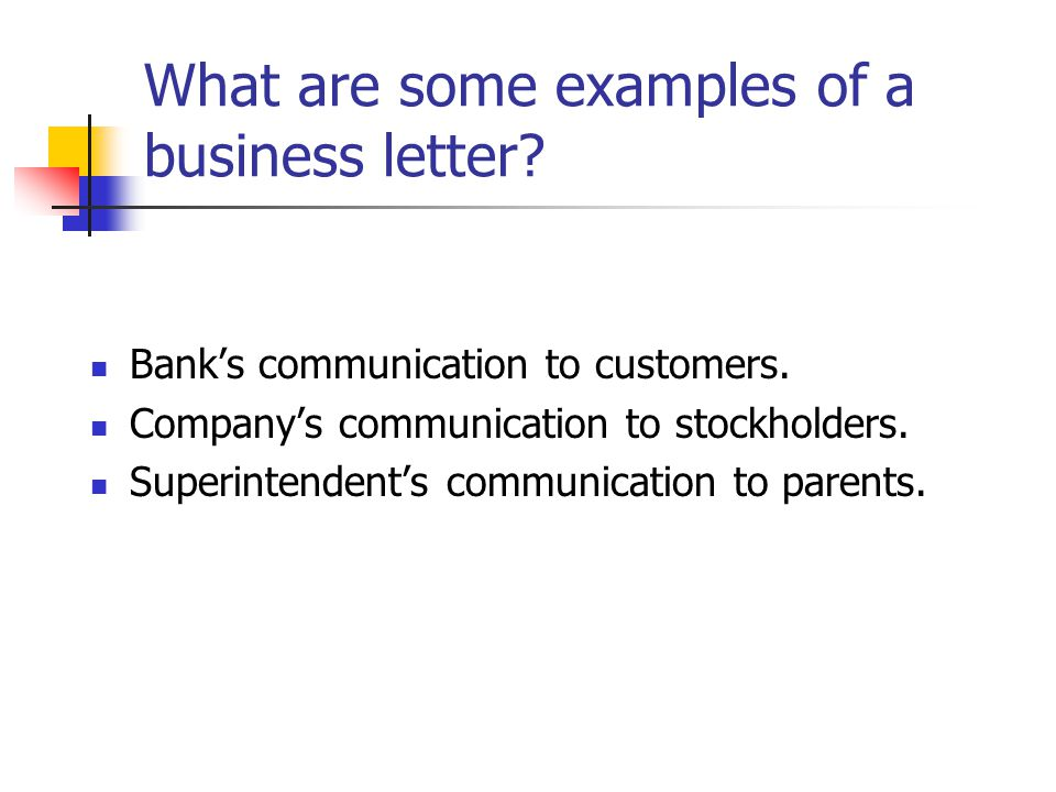 What are some examples of a business letter