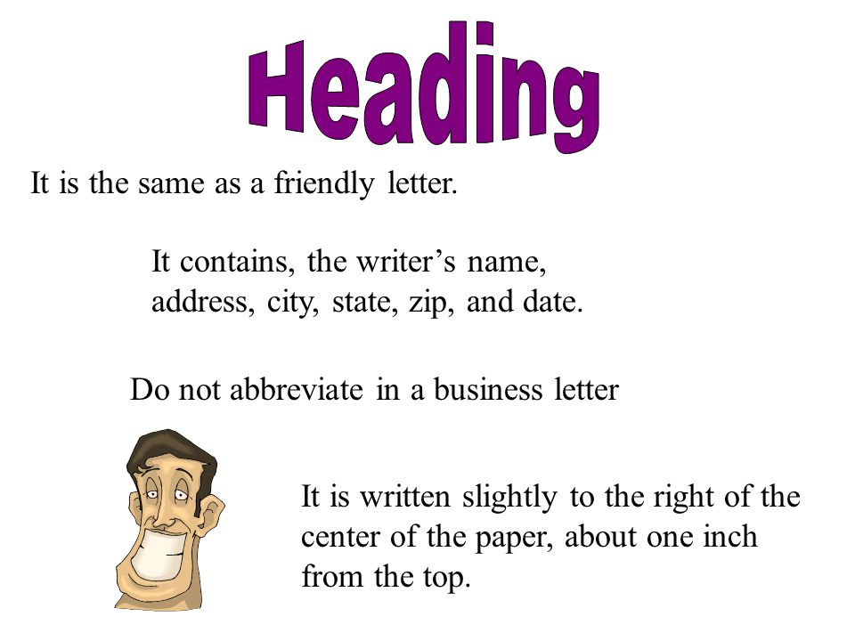 what is the heading of a business letter