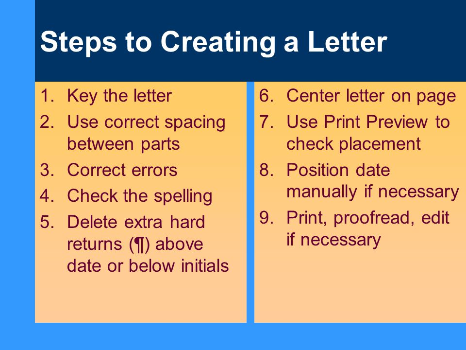 Steps to Creating a Letter