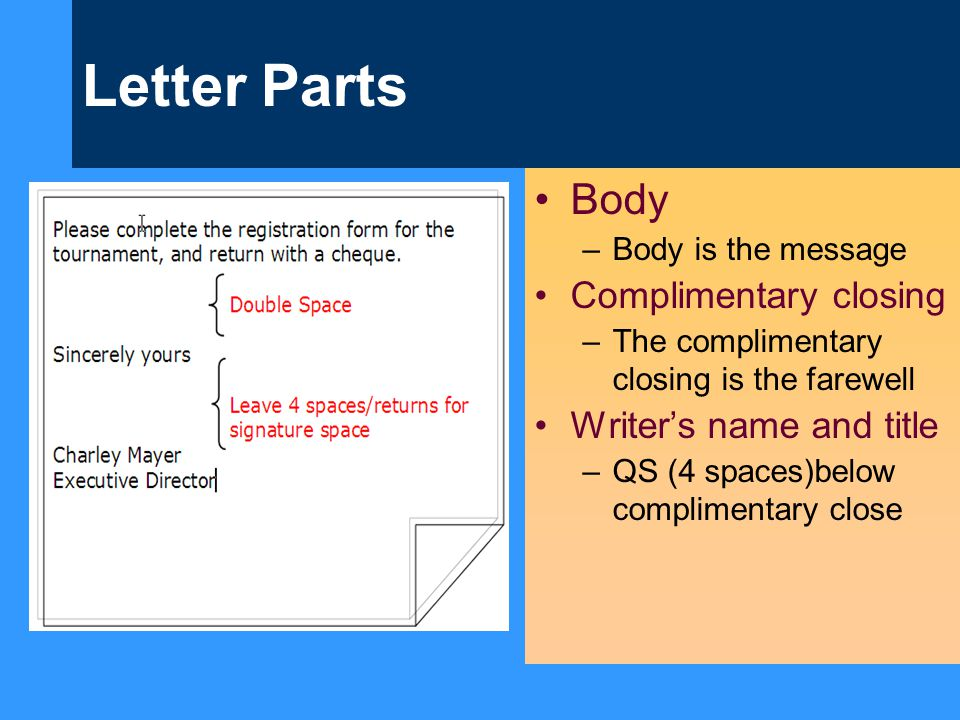 Letter Parts Body Complimentary closing Writer's name and title