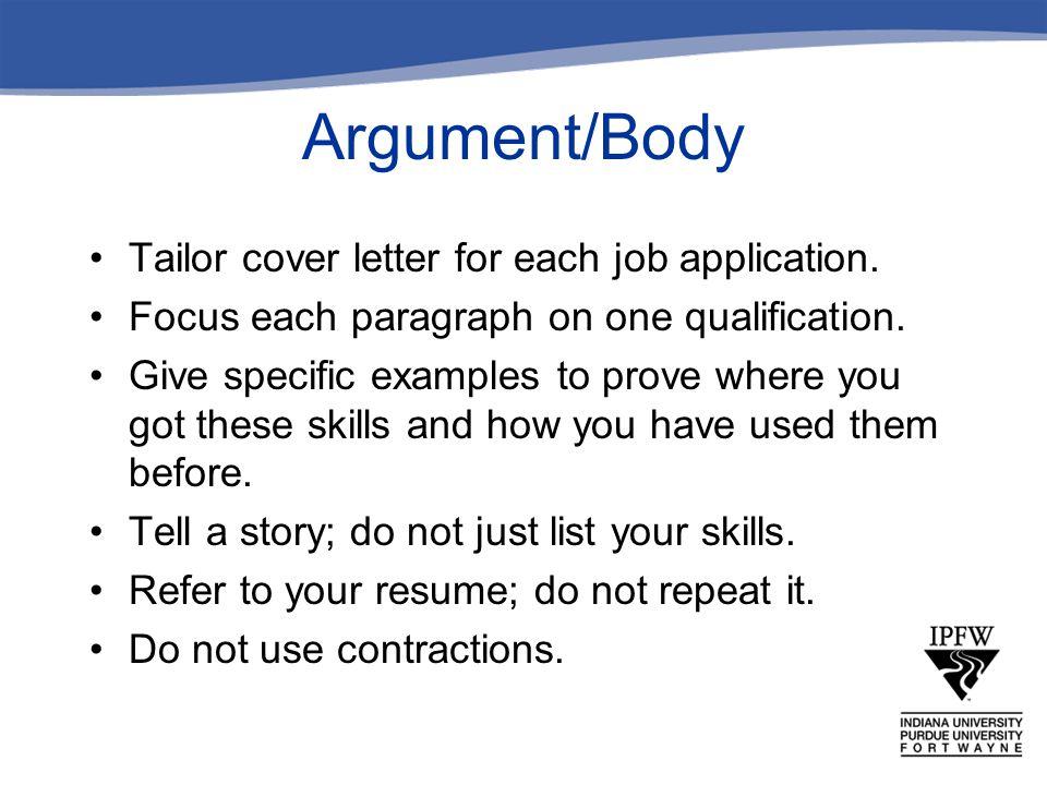 Argument Body Tailor Cover Letter For Each Job Application