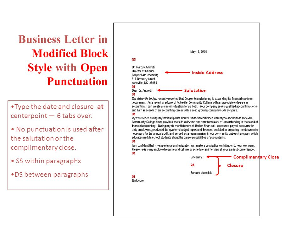 Cover Letter Punctuation