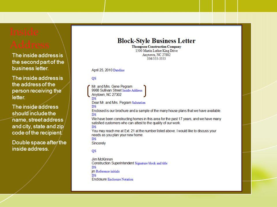 Components of business letters ppt download 12 inside address spiritdancerdesigns Choice Image
