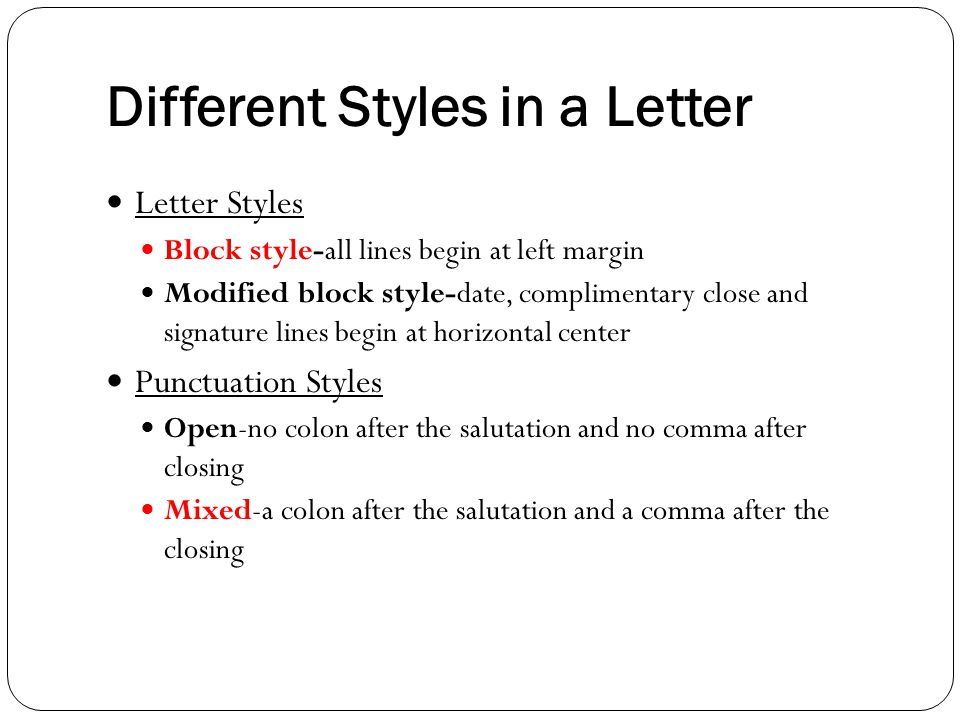 different styles of business letter
