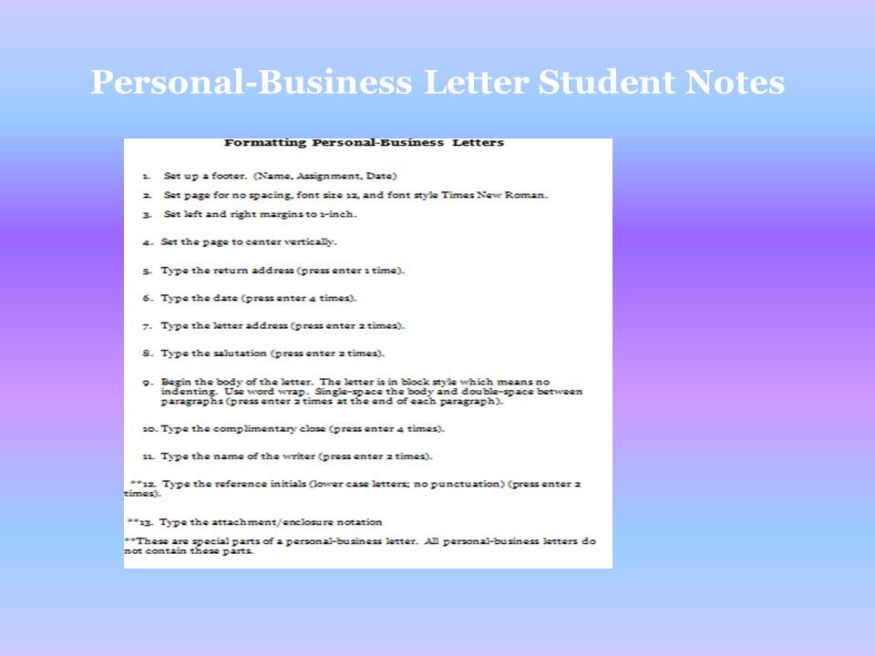11 personal business letter student notes
