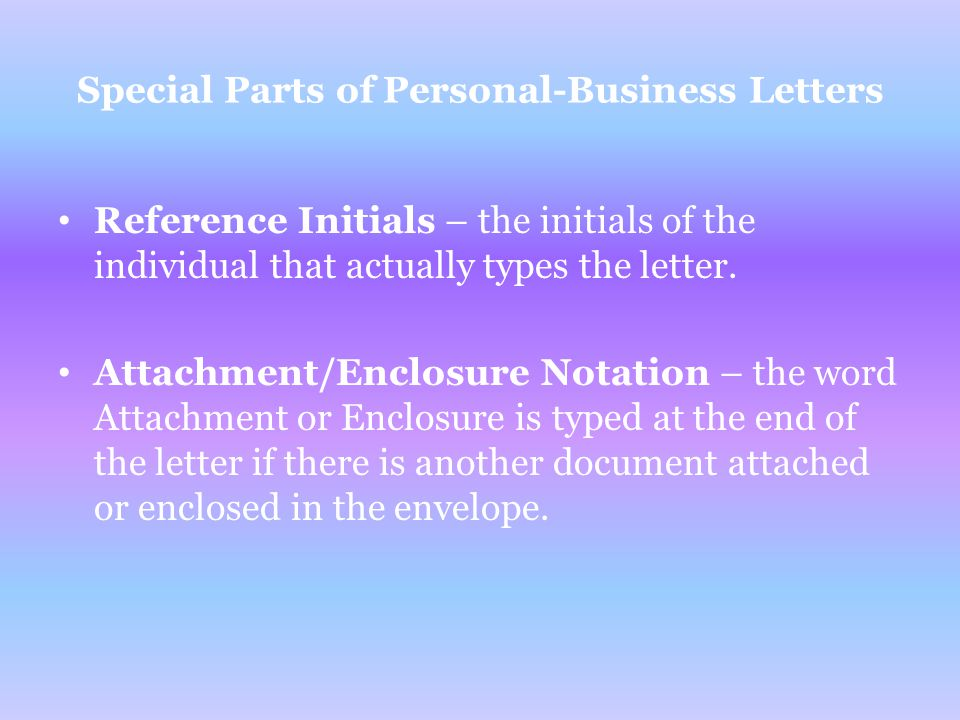 special parts of personal business letters