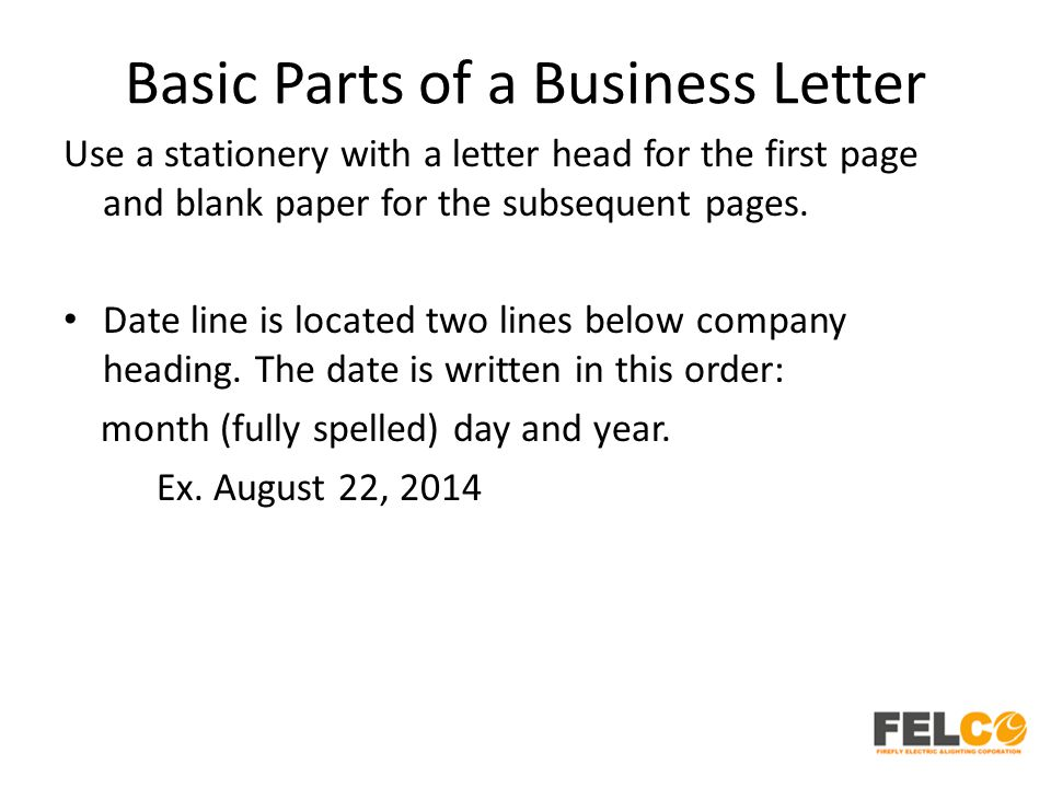 Lesson 2 business letters parts and formats ppt download basic parts of a business letter thecheapjerseys Gallery