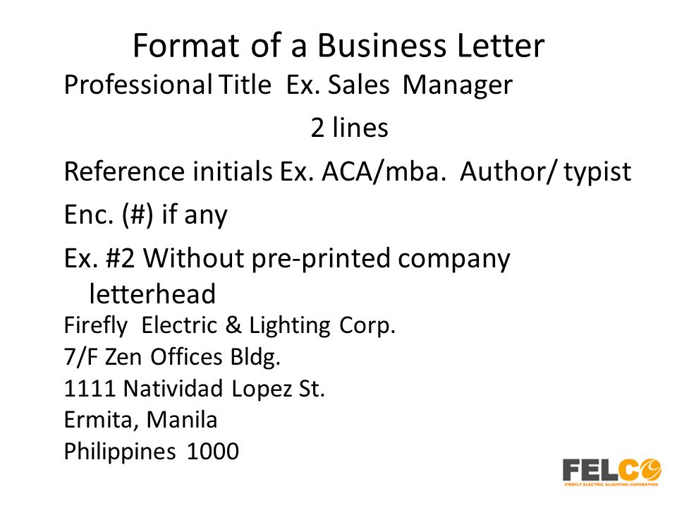 Lesson 2 business letters parts and formats ppt download format of a business letter altavistaventures Images