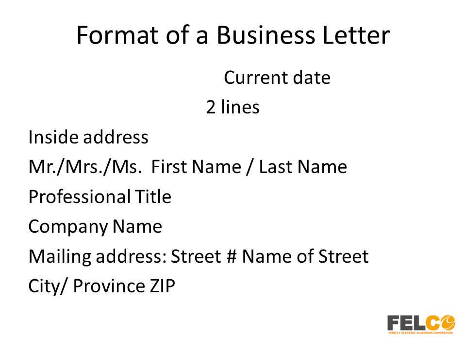 Lesson 2 business letters parts and formats ppt download format of a business letter spiritdancerdesigns Choice Image