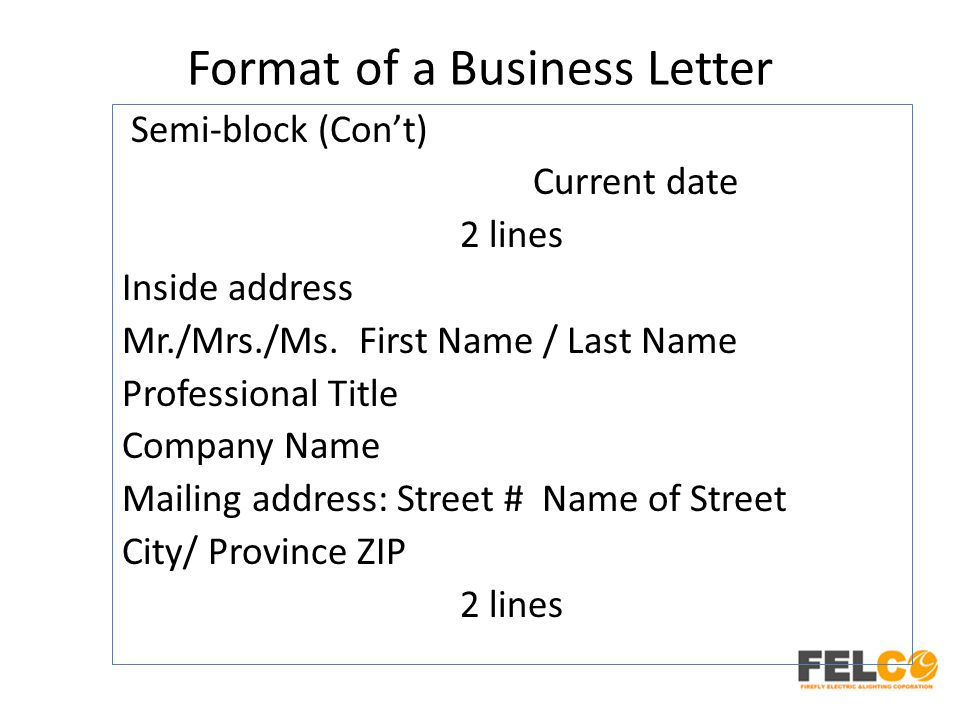 Lesson 2 business letters parts and formats ppt download 54 format spiritdancerdesigns Choice Image