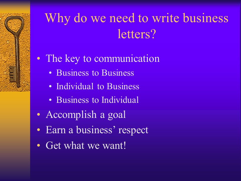 reasons to write a business letter