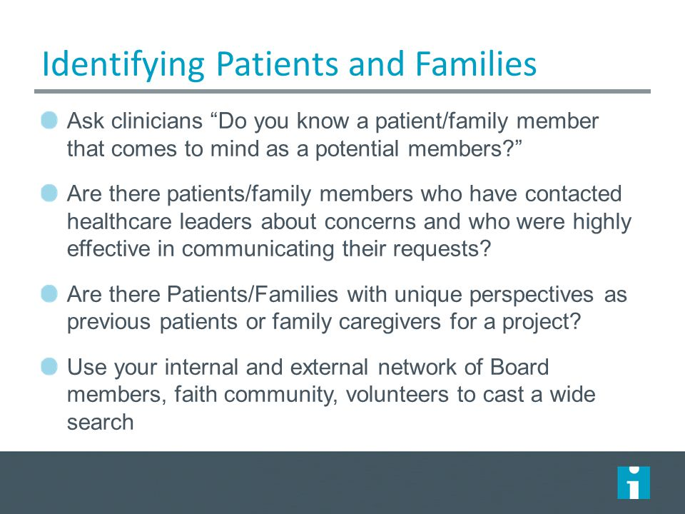 Identifying Patients and Families