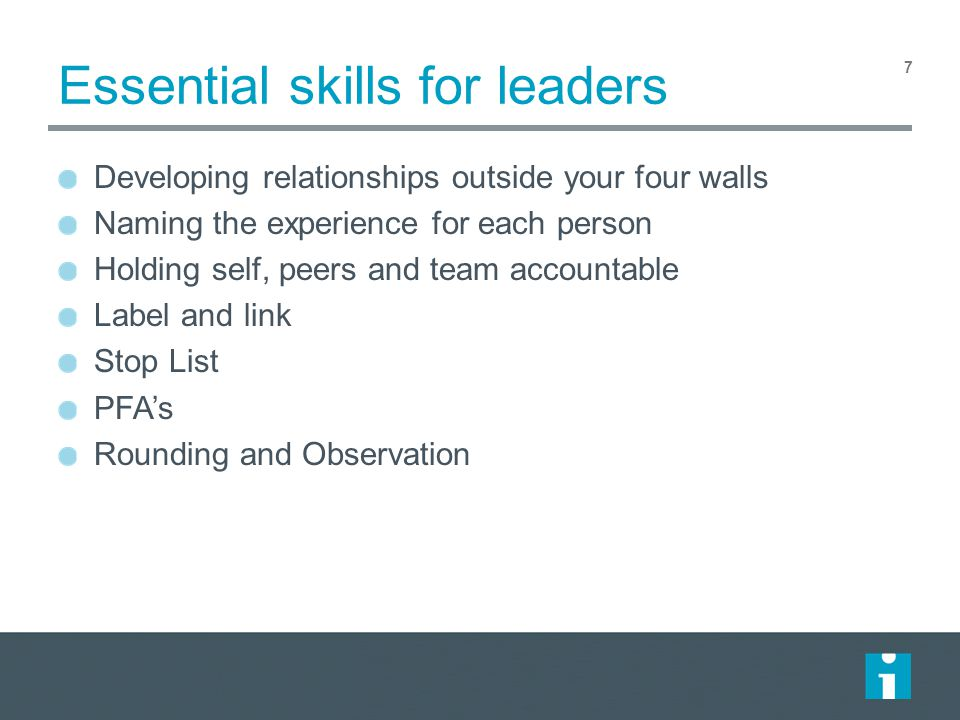 Essential skills for leaders