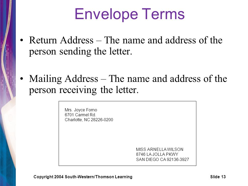 Envelope Terms Return Address – The name and address of the person sending the letter.