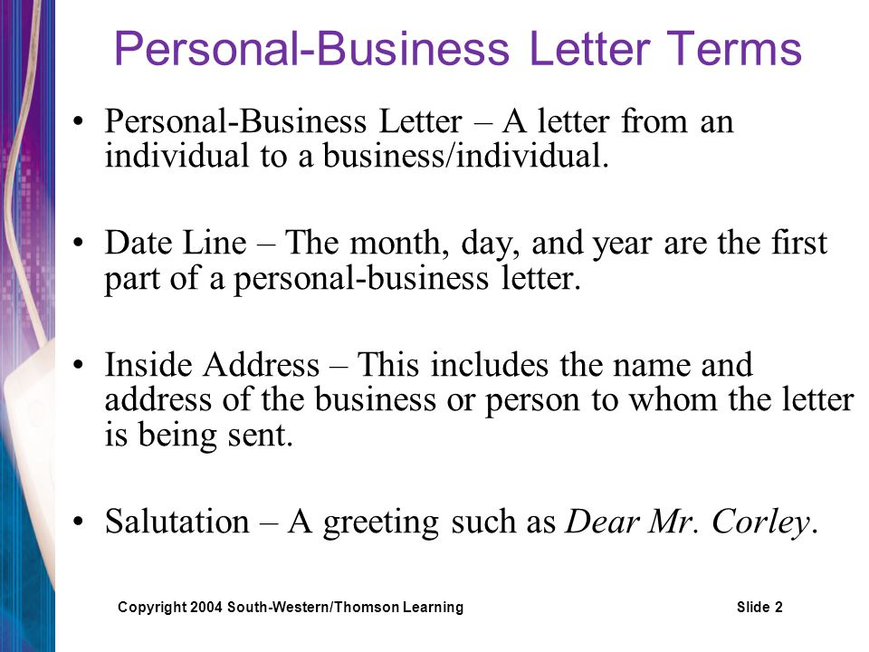 Personal-Business Letter Terms