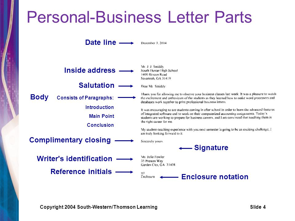4 personal business letter parts - Personal Business Letter