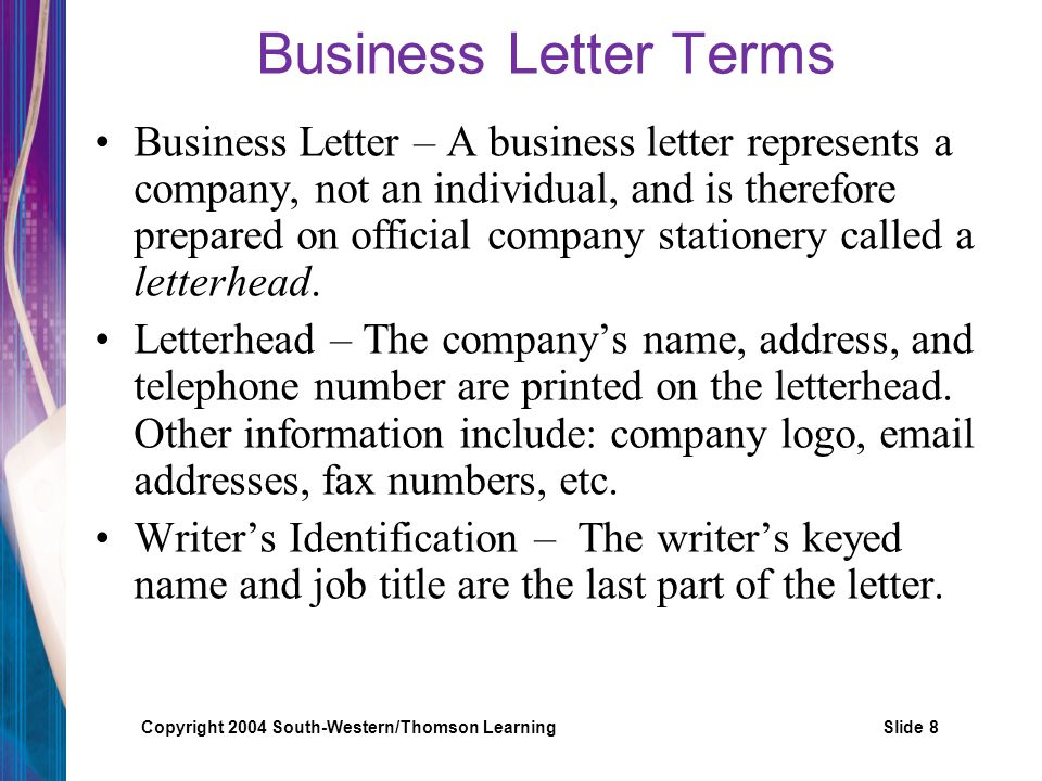 Business Letter Terms